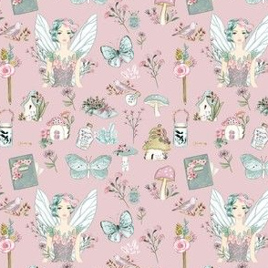 Girls Fairy Kingdom on Pink Background