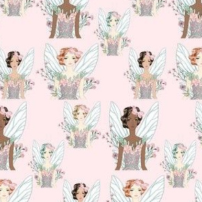 Fairy Princesses on Pink Background