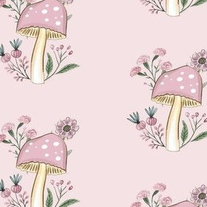 Pink Mushroom and flowers