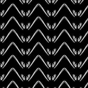 Black and White Petal Chevron Pattern