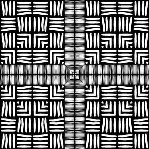 Black and White Framed Wicker Weave