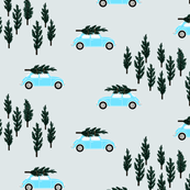 silver gray BG // blue VW beetle christmas fabric tree on car truck theme
