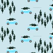 blue BG // blue VW beetle christmas fabric tree on car truck theme