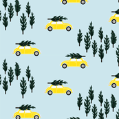 blue BG // yellow VW beetle christmas fabric tree on car truck theme