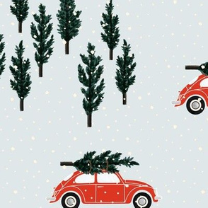 silver BG // red VW beetle christmas fabric tree on car truck theme