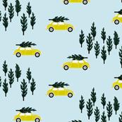 blue BG // limoncello VW beetle christmas fabric tree on car truck theme