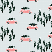 silver BG // musk pink VW beetle christmas fabric tree on car truck theme