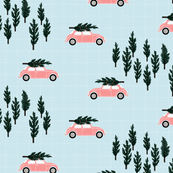 blue BG // musk pink VW beetle christmas fabric tree on car truck theme