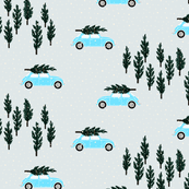 silver grey BG // blue VW beetle christmas fabric tree on car truck theme