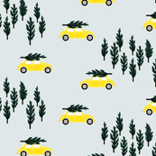silver gray BG // yellow VW beetle christmas fabric tree on car truck theme