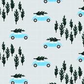 silver gray BG // blue VW beetle christmas fabric tree on car truck theme