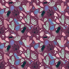 Abstract tropical pattern dark violet background