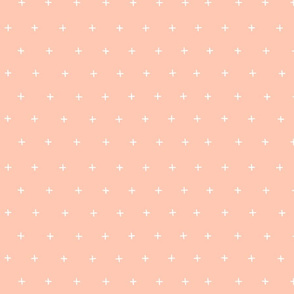 bright peach pink salmon cross plus swiss cross swiss crosses scandi fabric gift wrap wrapping paper wallpaper