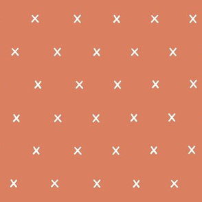 mango orange coral exes ex x cross crosses fabric gift wrap wrapping paper wallpaper
