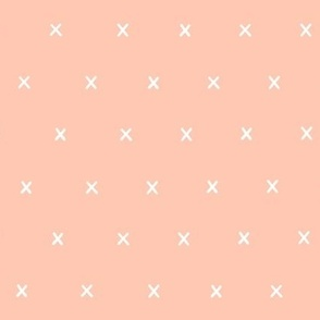 bright salmon exes ex x cross crosses fabric gift wrap wrapping paper wallpaper