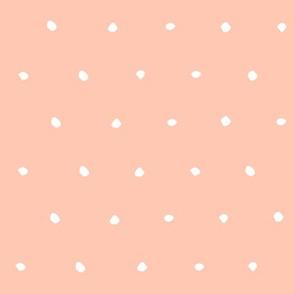 bright salmon pink Dots Spots Dotty Spotty scandi fabric gift wrap wrapping paper wallpaper