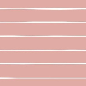 dusty pink Basic Horizontal stripes stripes lines wallpaper gift wrap fabric