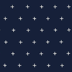 dark blue Freehand cross lus swiss cross swiss crosses scandi wallpaper gift wrap fabric