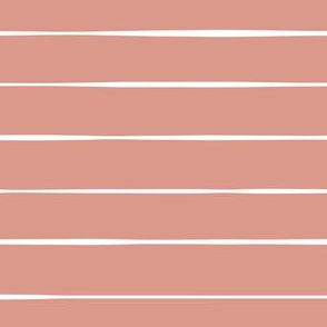 pink salmon coral Scandi horizontal stripes pink freehand lines