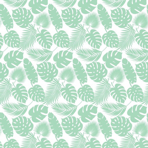 Tropical Leaves - Aqua on White - Small