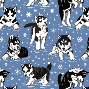 Husky puppies and snowflakes 16x16
