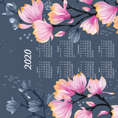German 2020 Calendar, Monday / Magnolia Melancholy
