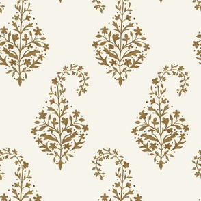 Painted Paisley Sepia on Cream