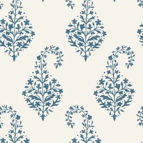 Painted Paisley Blue Slate on Cream