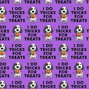 (small scale) I do tricks for treats - dog halloween - purple and black - LAD19BS