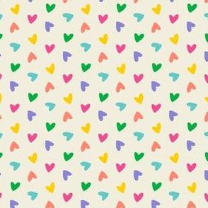 Rainbow Tossed Hearts