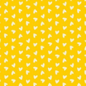 Tossed Hearts on Yellow