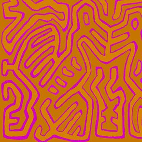 Mola Birds  - OrangePinkYellow 54x36