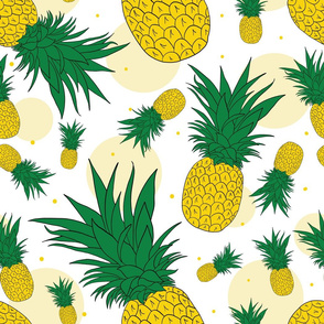Pineapple Dots Seamless Pattern
