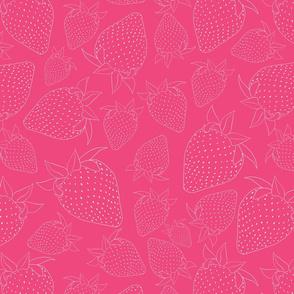 Strawberries on Pink Seamless Pattern