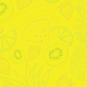 Summer Fruit on yellow Seamless Pattern