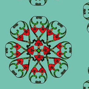 Spearmint and red geometric pattern