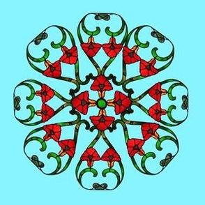 Sky Blue, elegant geometrical flower mandalas