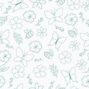 Teal Flower and Wings outline on white