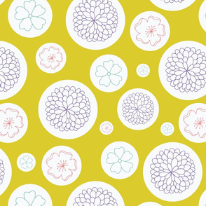 Flowers in dots on green background