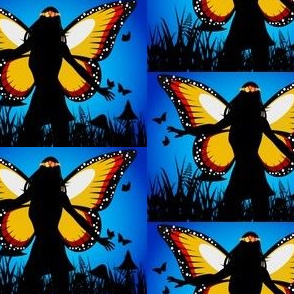 Butterfly Fairy Woman Sunset
