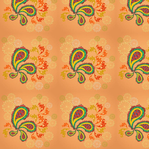 Paisley orange festive floral patterns