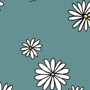 Little daisy garden boho spring daisies in trend colors yellow white stone gray blue JUMBO