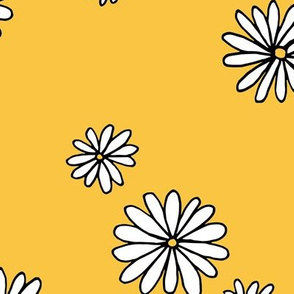 Little daisy garden boho spring daisies in trend colors yellow white ochre JUMBO