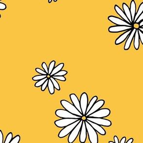 Little daisy garden boho spring daisies in trend colors yellow white ochre JUMBO