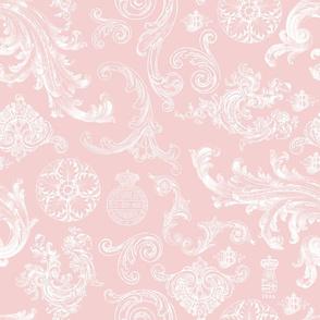 Vintage Swirls Pink White
