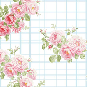 May Day Summer Roses aqua tartan
