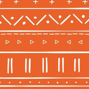 1 // african inspired mudcloth fabric wallpaper gift wrap mud cloth fabric tangerine clementine orange and white