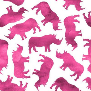 Watercolor Rhinos - dark pink on white