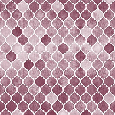 Textured Desaturated Burgundy Moroccan Tiles - tiny version fabric by micklyn on Spoonflower - custom fabric