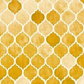 Textured Amber Yellow Moroccan Tiles - medium print